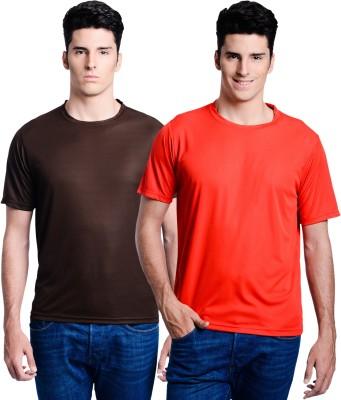 Superjoy Solid Men's Round Neck Brown, Red T-Shirt
