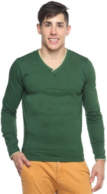Pepperclub Solid Men's V-neck Green T-Shirt