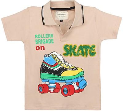 Tonyboy Printed Boy's Polo Neck Beige T-Shirt