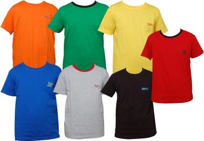 Little Star Solid Boy's Round Neck Multicolor T-Shirt