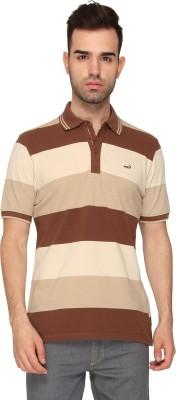 Crocodile Striped Men,s Polo Neck Brown T-Shirt