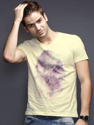 HRX Printed Men's V-neck Yellow T-Shirt