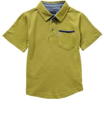 Levis Kids Solid Boy's Polo Neck Green T-Shirt