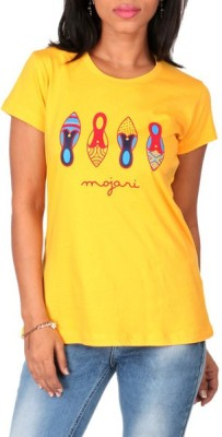 Mad(e) In India Graphic Print Women's Round Neck Yellow T-Shirt