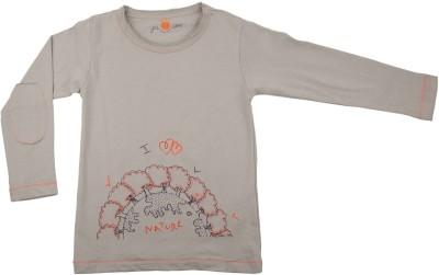 NeedyBee Printed Baby Girl's Round Neck Grey T-Shirt