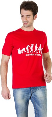 RICK AND MASCH Printed Men's Round Neck Red T-Shirt