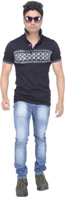 AFLASH Printed Men's Polo Black T-Shirt