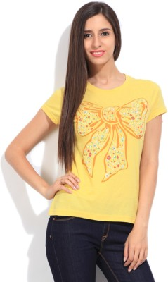 STYLE QUOTIENT BY NOI Printed Women's Round Neck Yellow T-Shirt