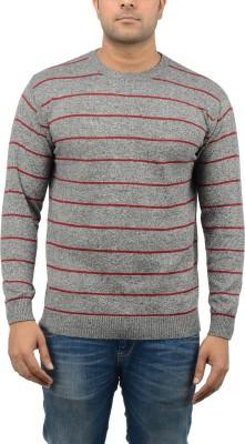 Blue Heaven Striped Men's Round Neck Grey, Red T-Shirt