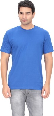 Imago Solid Men's Round Neck Blue T-Shirt
