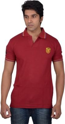 Tavara Solid Men's Polo Neck Maroon T-Shirt