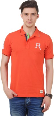 FROST Embroidered Men's Polo Neck Orange T-Shirt