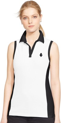 Kotty Solid Women's Polo Neck White T-Shirt