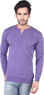 DXI Solid Men's Henley Purple T-Shirt