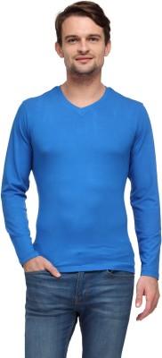 Global Nomad Solid Men's V-neck Blue T-Shirt