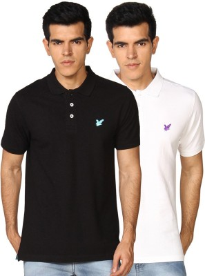 Provogue Solid Men's Polo Neck White, Black T-Shirt