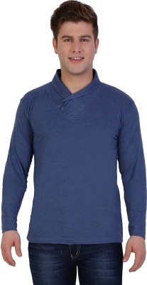 Sciocco Solid Men's Draped Neck Blue T-Shirt