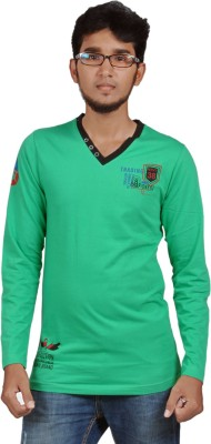 Harsha Printed Men's V-neck Green T-Shirt