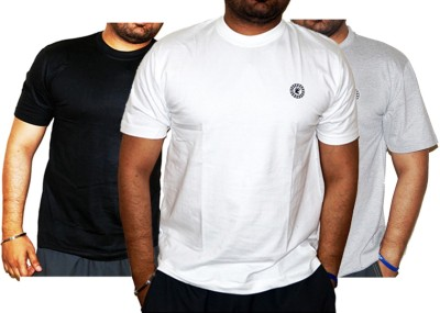 Laconic Solid Men's Round Neck White, Black, Grey T-Shirt