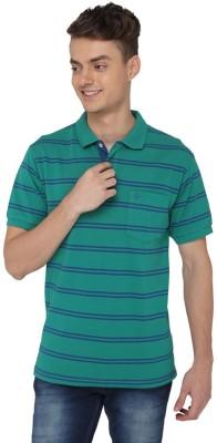 Greenfibre Striped Men's Polo Neck Green T-Shirt
