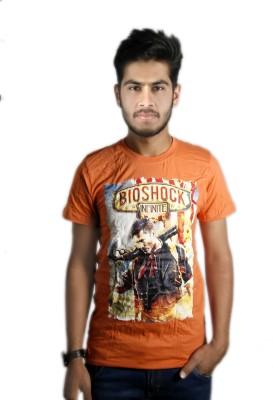Live Green Graphic Print Men's Round Neck Orange T-Shirt