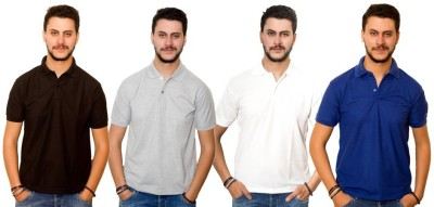 Dreamz Clothing Co Solid Men,s Polo Neck Black, Grey, White, Blue T-Shirt