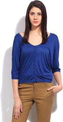Elle Solid Women's Fashion Neck Blue T-Shirt