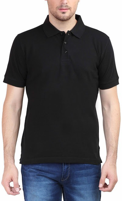 Tee Talkies Solid Men's Polo Neck Black T-Shirt