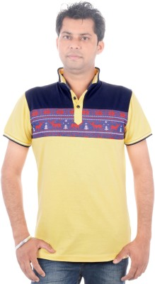 All Ruggby Printed Men's Polo Neck Yellow T-Shirt