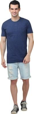 HASH TAGG Self Design Men's Round Neck Dark Blue T-Shirt