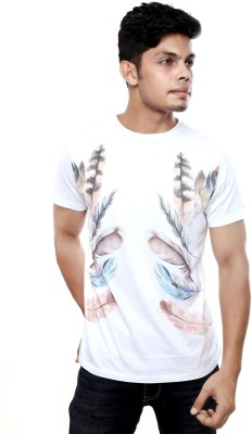 Viral Lifestyle Printed Men's Round Neck White T-Shirt