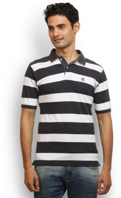 Thisrupt Striped Men's Polo Neck Black T-Shirt