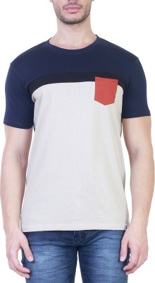 Unkonventional Solid Men's Round Neck Blue, Beige T-Shirt