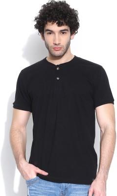 Cult Fiction Solid Men's Henley Black T-Shirt