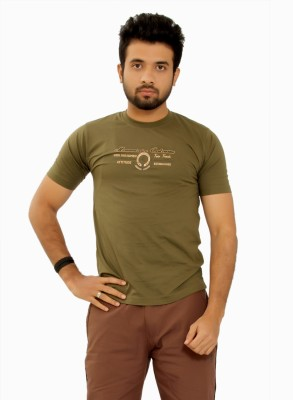 MountainColours Solid Men's Round Neck Green T-Shirt