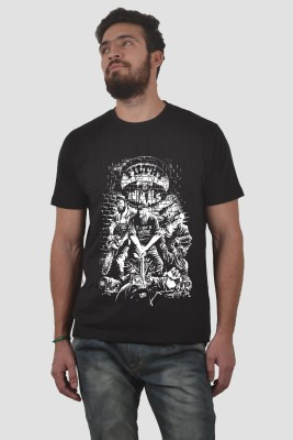 Abuse Printed Men's Round Neck Black T-Shirt