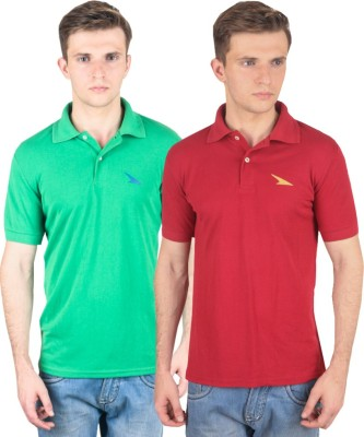 PRO Lapes Solid Men's Polo Neck Green, Maroon T-Shirt