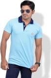 Chakravarthi Solid Men's Polo Neck Blue ...