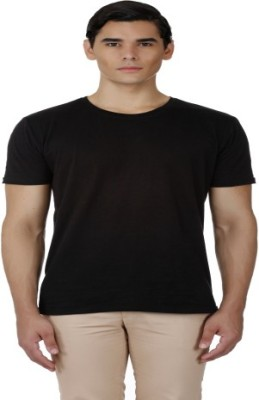 Baba Rancho Solid Men's Round Neck Black T-Shirt