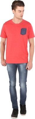 Caricature Printed Men's Round Neck Red T-Shirt