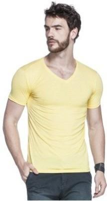 Bright deals Solid Men's V-neck Yellow T-Shirt