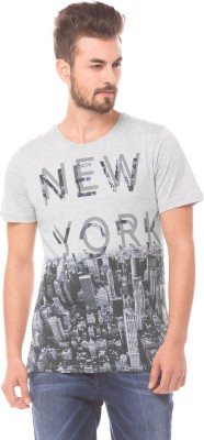 Prym Printed Men's Round Neck Grey T-Shirt