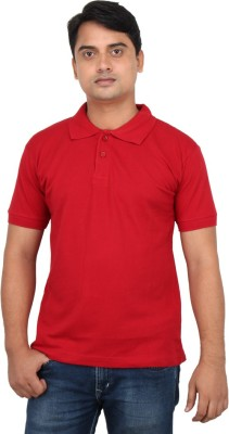LOOX by Apoorti Solid Men's Polo Neck Red T-Shirt