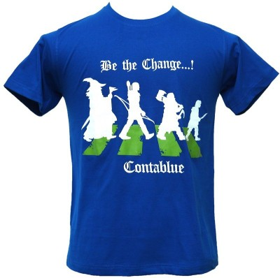Contablue Graphic Print Men's Round Neck Blue T-Shirt