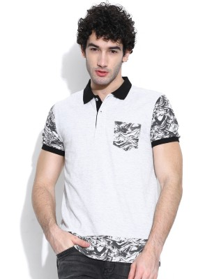 United Colors of Benetton Printed Men's Polo Neck White T-Shirt