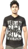 Hueman Printed Men's V-neck Black T-Shir...