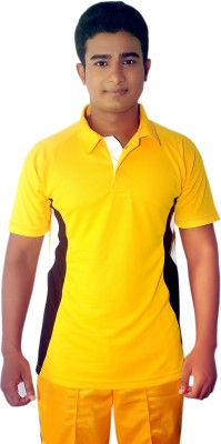 Dyed Colors Solid Men's Polo Neck Yellow, Yellow T-Shirt