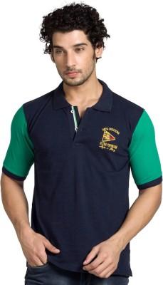 YOO Solid Men's Polo Neck Dark Blue T-Shirt