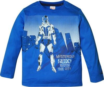 FS Mini Klub Printed Boy's Round Neck Blue T-Shirt
