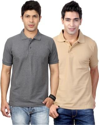 Top Notch Solid Men's Polo Neck Grey, Beige T-Shirt